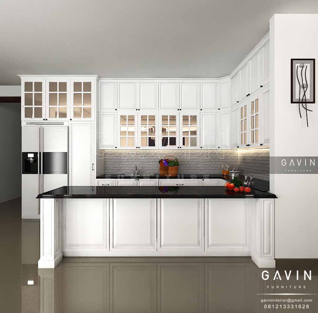 Design Kitchen Set Klasik Finishing Duco Putih Gavin Interior