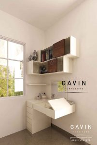 meja rias minimalis hpl putih gavin interior