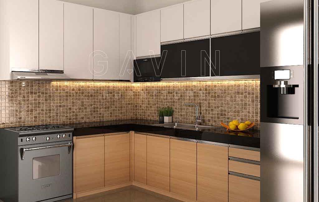 Produksi Kitchen Set Dengan Finishing HPL Kombinasi Di BSD