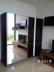 lemari sliding minimalis modern kombinasi kaca