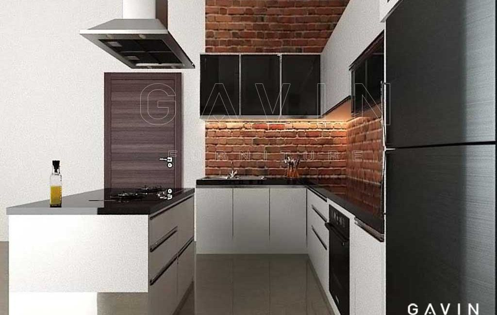Design Kitchen Set Minimalis Dengan Island HPL Glossy Di Kalimalang Harga Design Kitchen Set Minimalis Archives  Gavin Interior