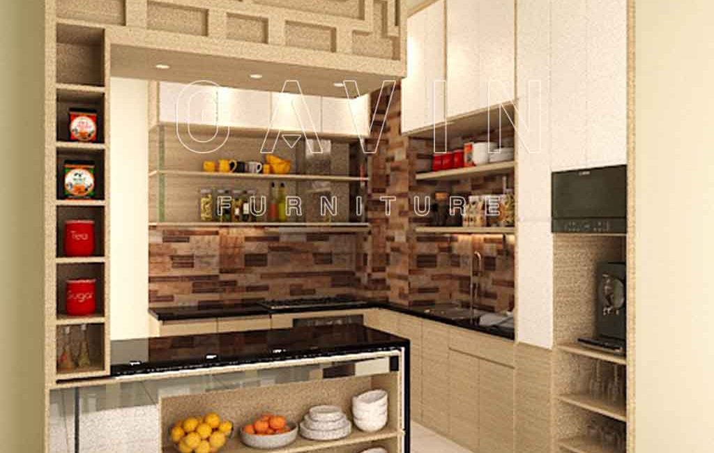 Jual kitchen set minimalis modern dengan minibar di tanah for Kitchen set jual