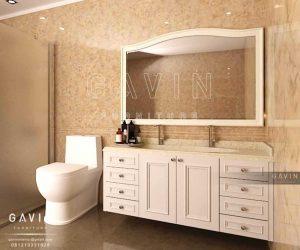 kabinet wastafel design klasik putih project bekasi Q2535