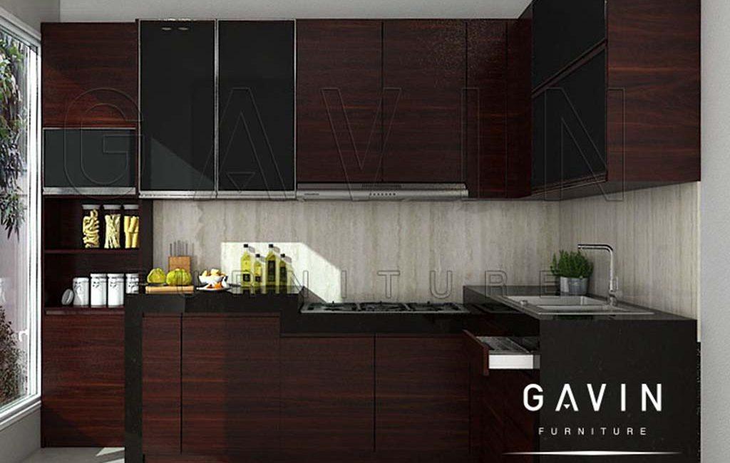 Gambar Kitchen Set Warna Coklat Dengan Double Hidrolik Klien Di Bekasi