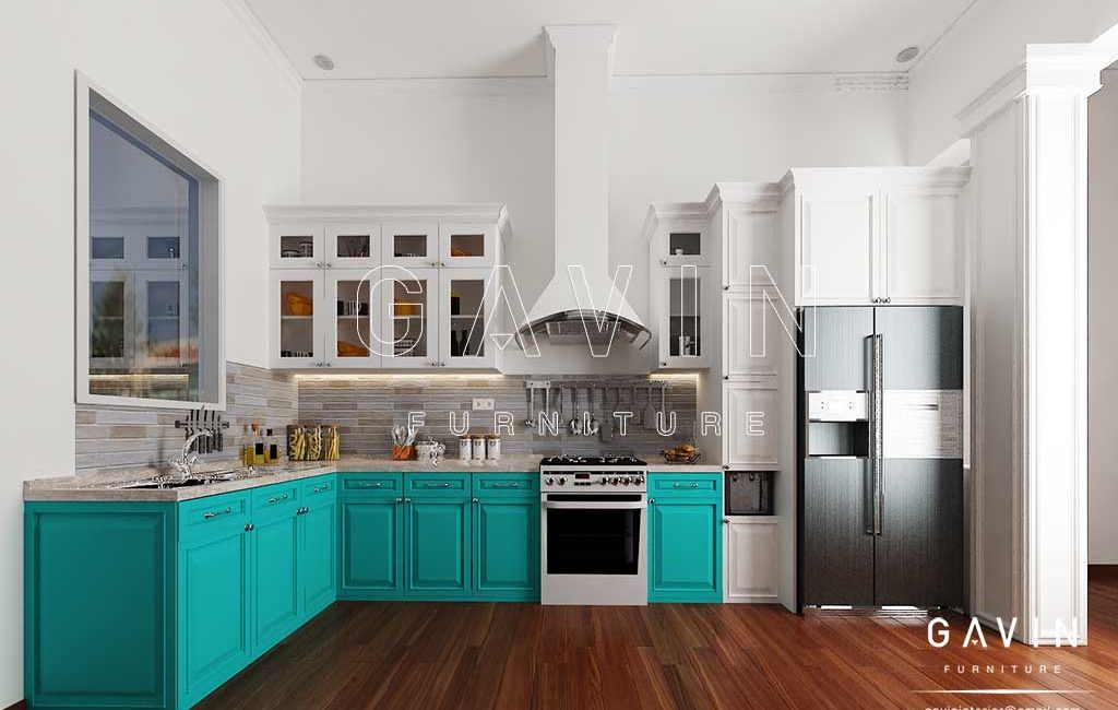 Model kitchen set klasik warna hijau tosca dan putih for Kitchen set hijau