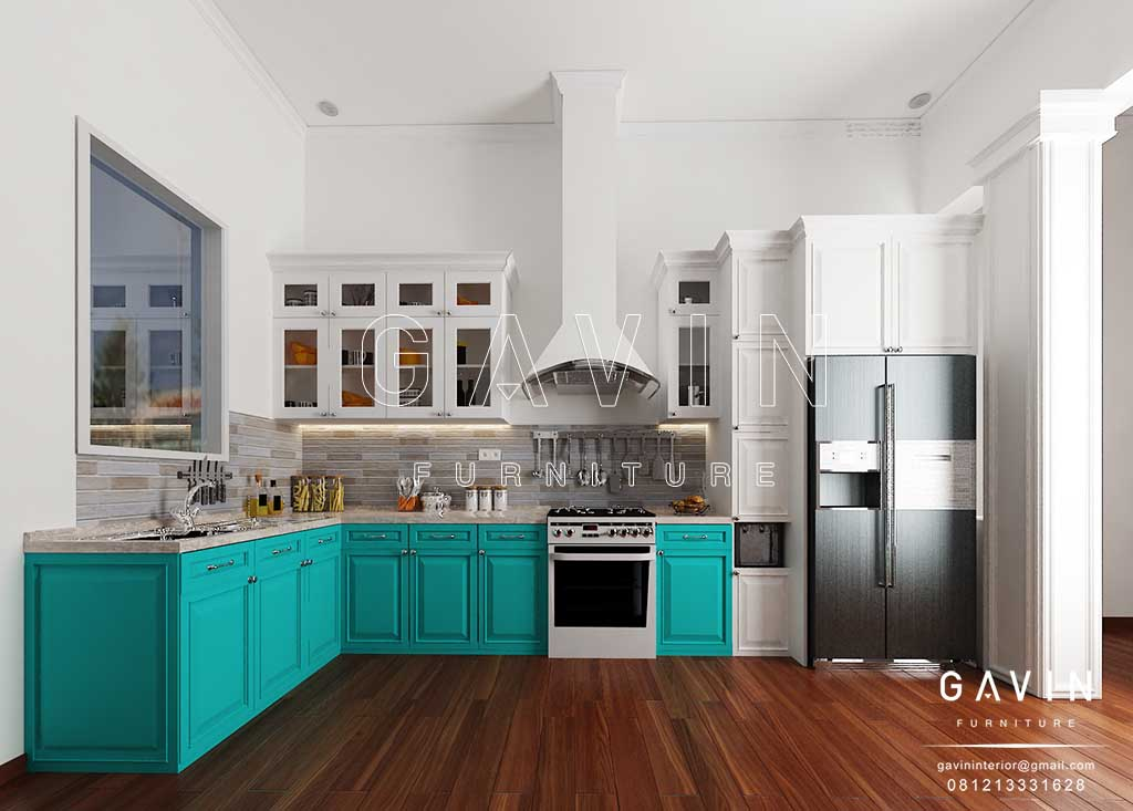 Model Kitchen Set Klasik Warna Hijau Tosca Dan Putih