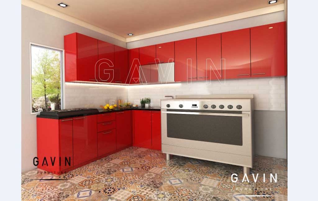 Gambar Kitchen Set Warna Merah Hpl Project Di Jelambar
