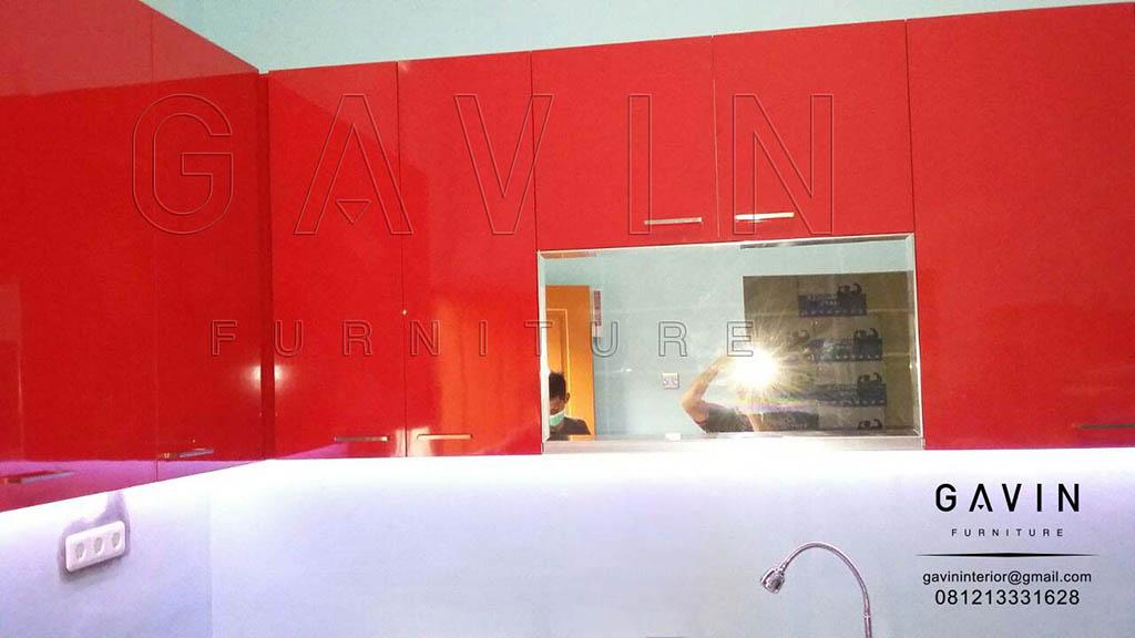 Gambar Kitchen Set Warna Merah Finishing Hpl Project Di Jelambar