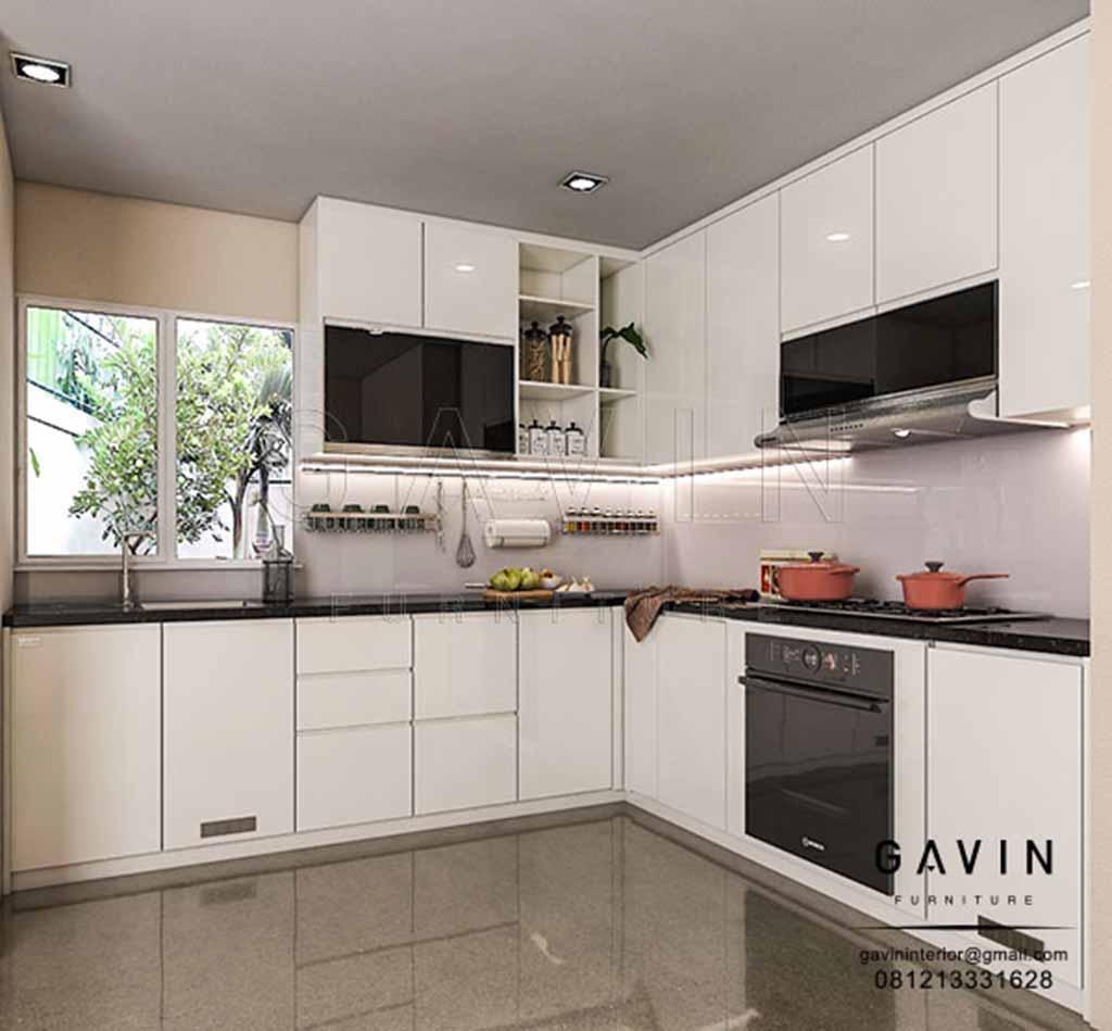 Produksi Lemari Dapur Putih Letter U Di Bintaro
