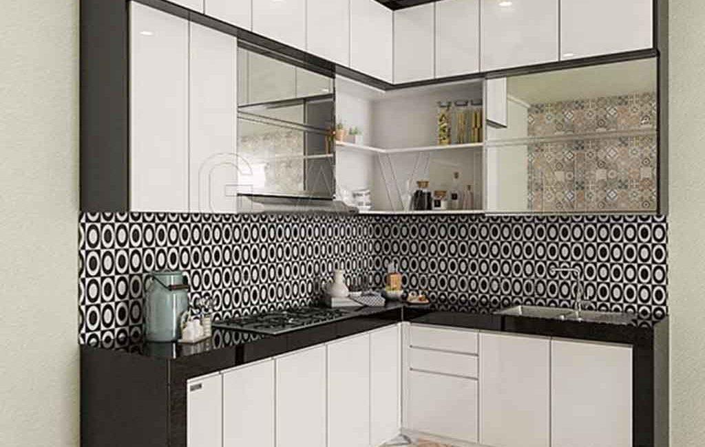 Design Bulid Gambar Lemari Dapur Warna Hitam Putih