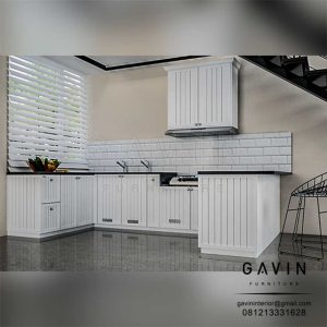 Design 3D kitchen finishing duco semi glossy putih project cibubur by Gavin Q3108