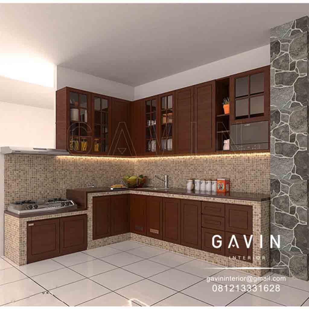 Kitchen Set L Design: Kitchen Set Kayu Jati Klasik Klien Kramat Jati