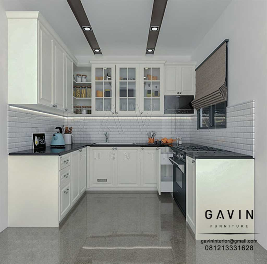 Design Kitchen Set Klasik Putih Letter U Q3086 Gavin Interior
