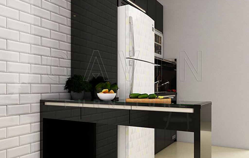 Kitchen Set Hitam Glossy Apartemen Season City Gavin Interior