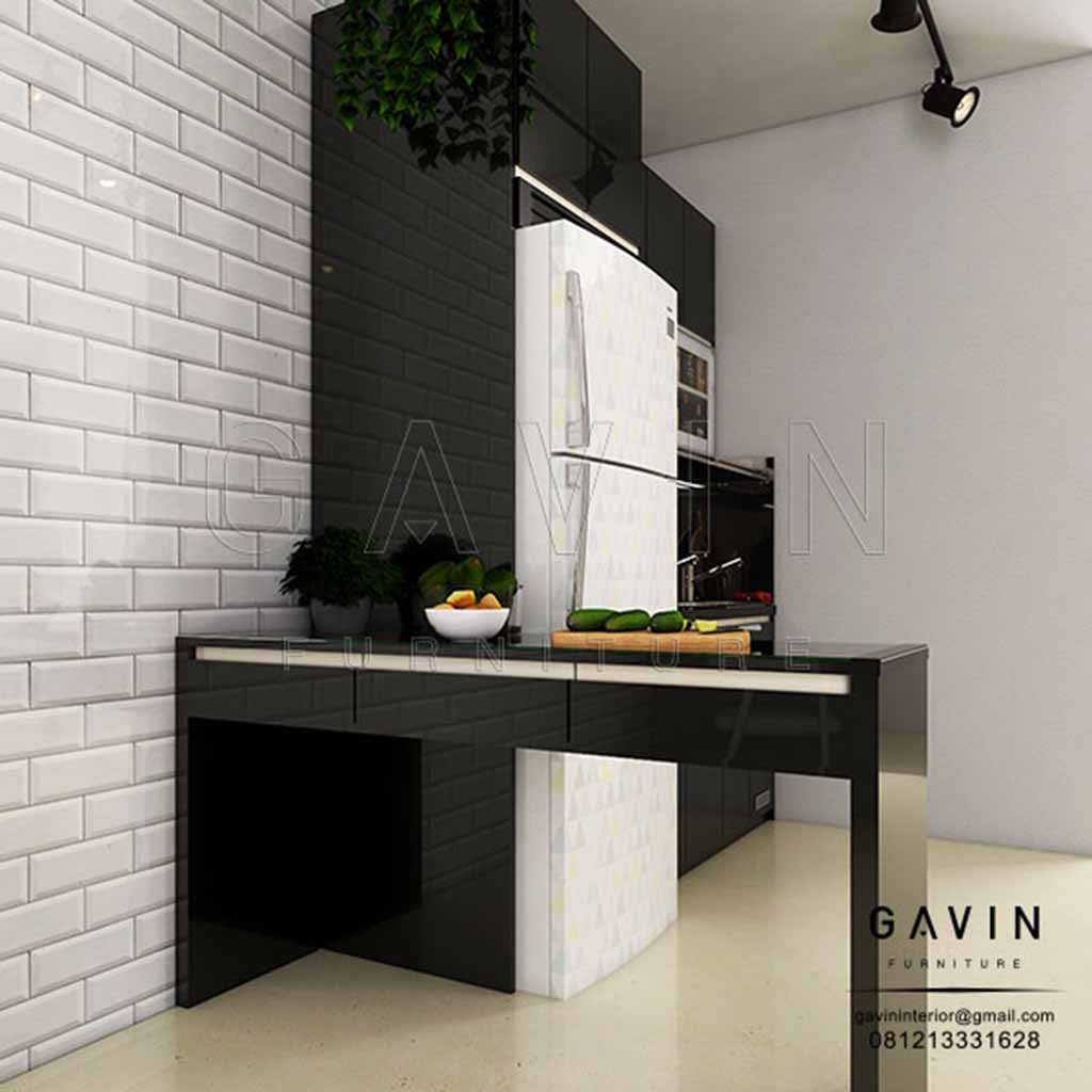 Kitchen Set Hitam Glossy Apartemen Season City
