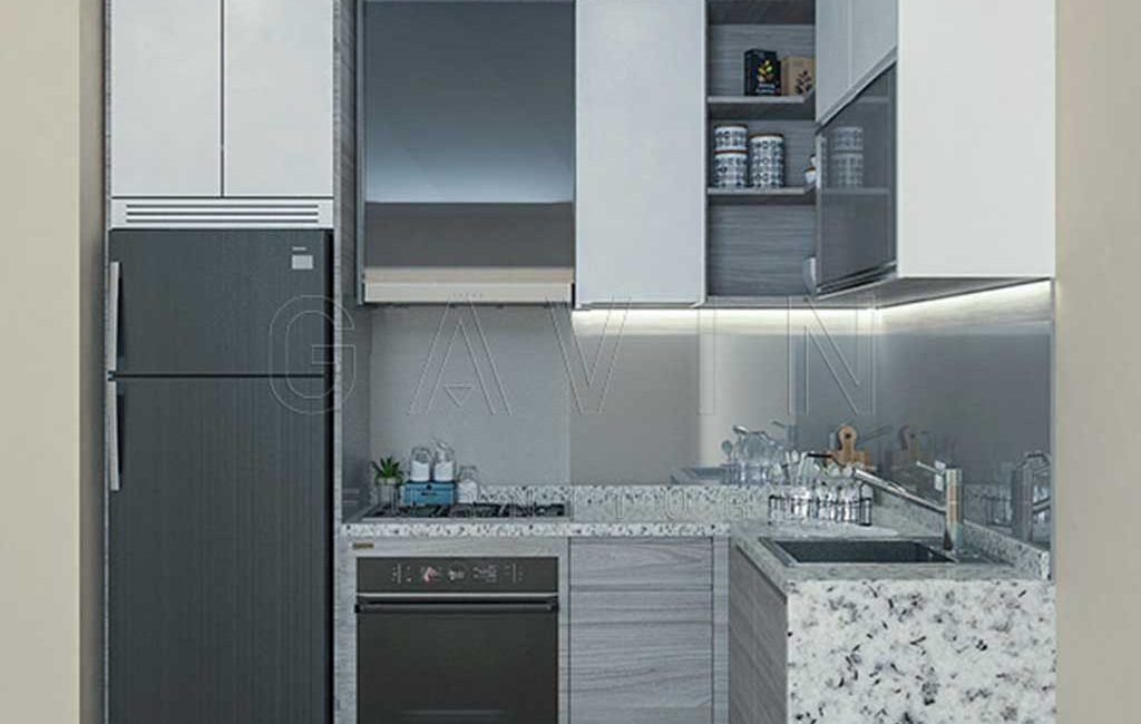 Kitchen Set Apartemen Kebayoran Icon Finishing Cermin
