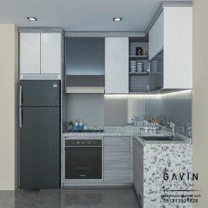 design kitchen set apartemen finishing hpl backplash cermin Q3047