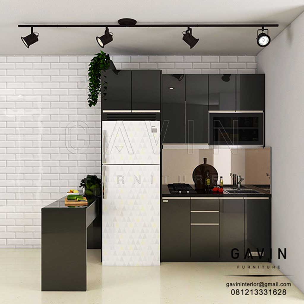 Design kitchen set hitam glossy minimalis modern q2979
