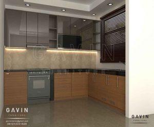 contoh kitchen set warna mocca glossy di Duri Kepa id3232