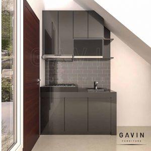 design kitchen set bawah tangga minimalis hitam by Gavin Q3228