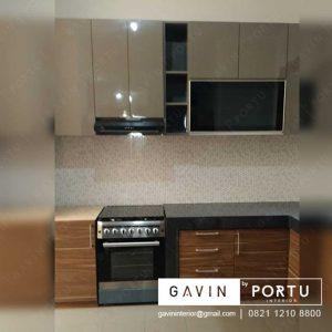 kitchen set minimalis modern glossy mocca id3232