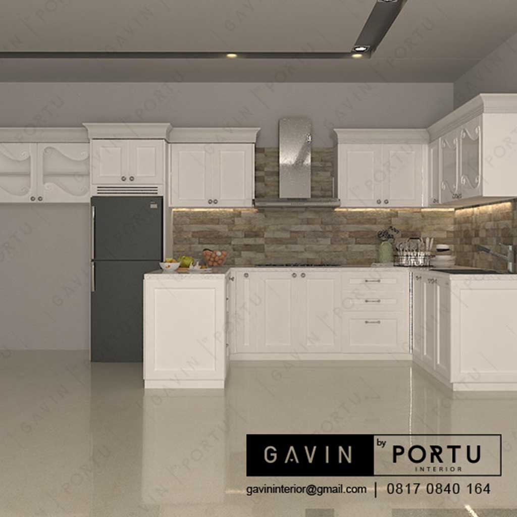 Kitchen Set Design Klasik Dengan Minibar Di Jalan Pahlawan