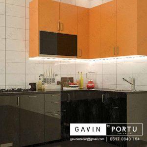 contoh kitchen set untuk dapur yang kecil warna kuning hitam id3252