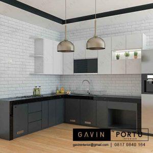 lemari dapur hitam putih dengan meja makan finishing hpl di bintaro id3194