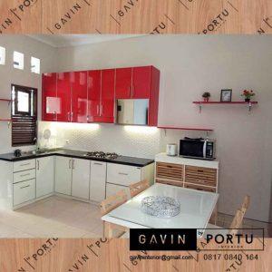bikin kabinet dapur merah putih design minimalis project Depok id3280