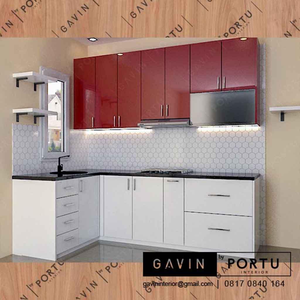 Bikin Kabinet Dapur Minimalis Kombinasi Merah Putih Di Bringin Townhouse Depok