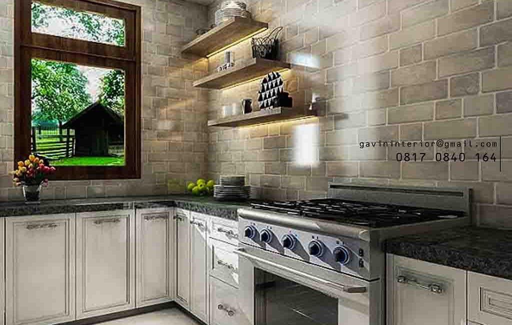 Model Lemari Dapur Bawah Semi Klasik Pasang Di Bintaro Sektor 2