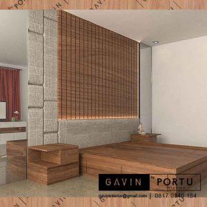 model ranjang tempat tidur design minimalis dengan headboard di Gavin id3313
