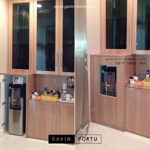 design kabinet dispenser minimalis finishing hpl project permata hijau id3422