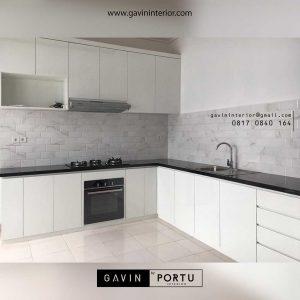 design lemari dapur minimalis letter L project di Bekasi id3423