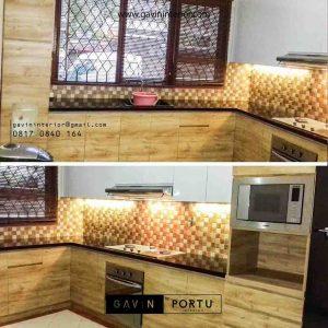 gambar kitchen set warna coklat minimalis Gavin by Portu