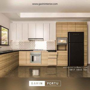 model kitchen set warna coklat letter L Gavin by Portu