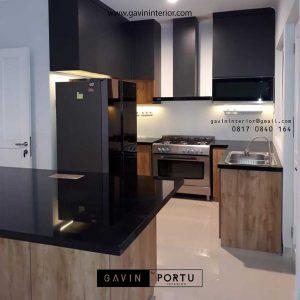 gambar kitchen set dapur minimalis coklat dan hitam di Bogor id3456