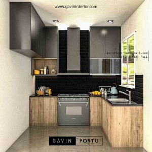 kitchen set dapur minimalis dengan mini bar motif kayu id3456