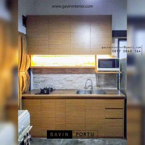 kitchen set minimalis kecil letter i warna coklat id3498