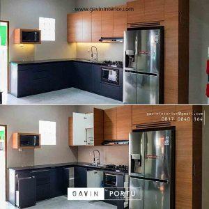 contoh kitchen set bentuk L warna coklat kombinasi grey project Bekasi id3485