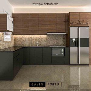 design kitchen set bentuk L minimalis modern kombinasi warna di Bekasi id3485