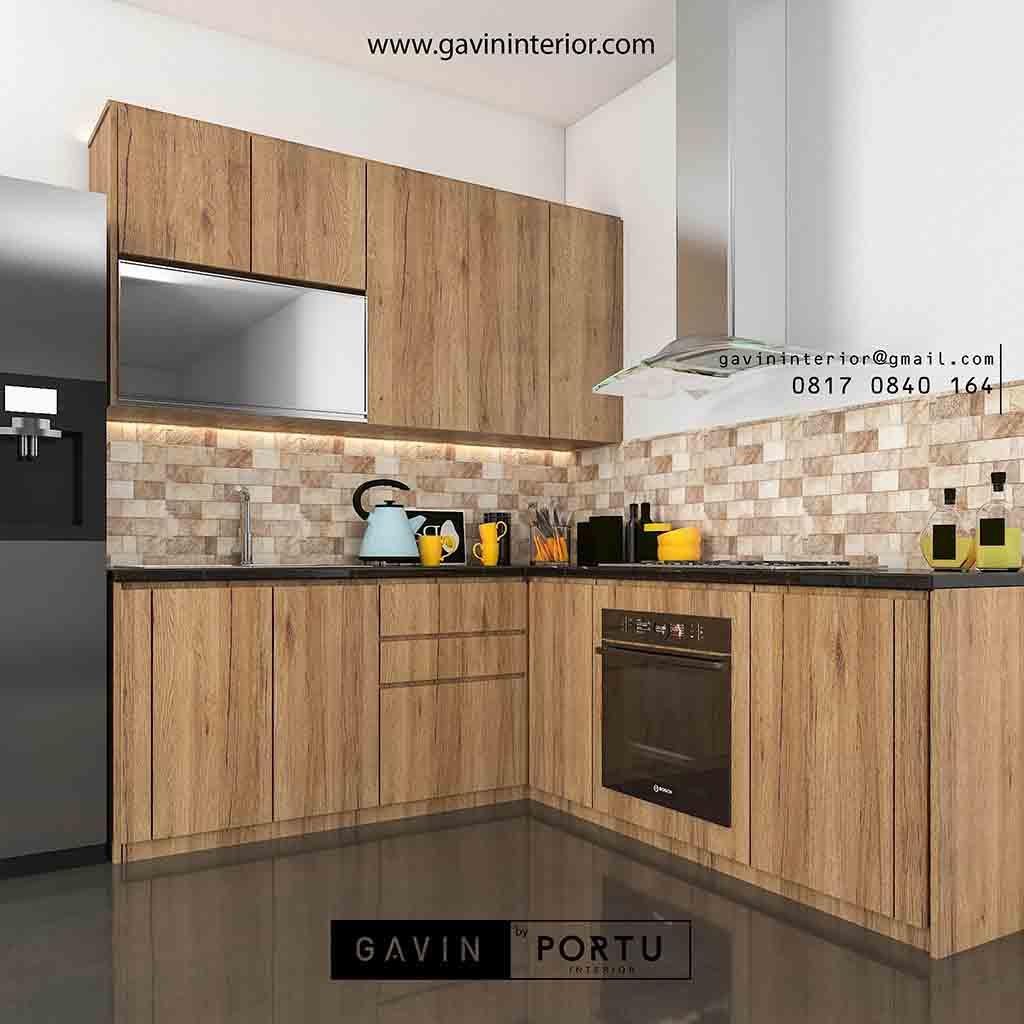 Kitchen Hpl: Kitchen Set HPL Coklat Perumahan Rafless Hils Cibubur
