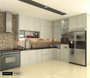gambar kitchen set bentuk l design minimalis project di Bintaro id3414