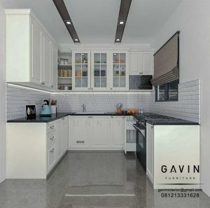 kitchen set letter u design semi klasik by Gavin Interior