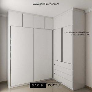 gambar lemari sliding pakaian minimalis full plafon
