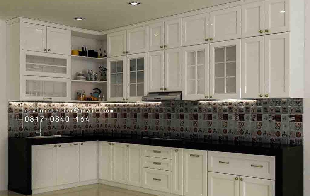 Bikin Kitchen Set Klasik Cat Duco Putih Letter L Kemang Pratama