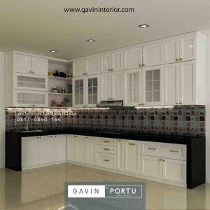 Bikin Kitchen Set Klasik Cat Duco Putih Letter L Kemang Pratama id4133pt