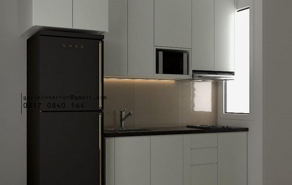 Desain Kitchen Set Minimalis Apartemen Sudirman Park Jakarta Utara