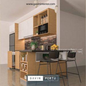 Kitchen Set Minimalis Letter L Coklat Serat Kayu & Putih
