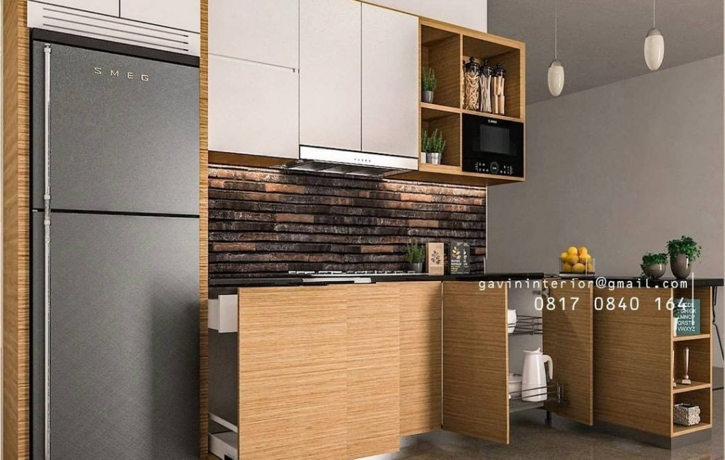 Kitchen Set Minimalis Letter L Warna Coklat Serat Kayu & Putih